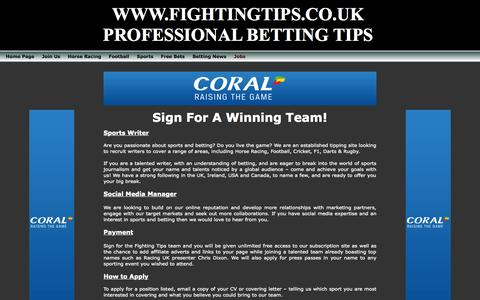 Screenshot of Jobs Page fightingtips.co.uk - Professional betting tips - captured Oct. 27, 2014