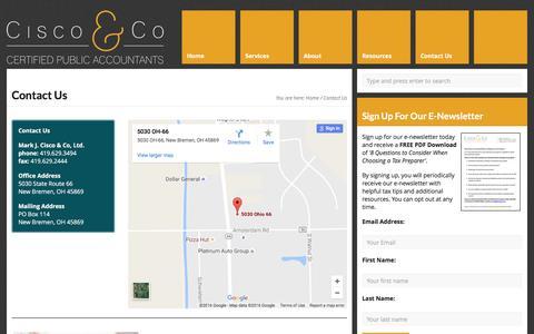 Screenshot of Contact Page ciscocpa.com - Contact us | Tax Accountants| Mark J. Cisco & Co - captured Nov. 27, 2016