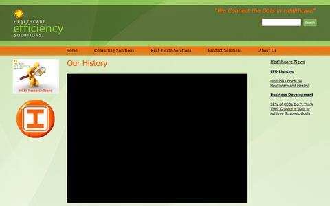Screenshot of About Page hcesllc.com - Our History - Healthcare Efficiency Solutions - captured Nov. 1, 2014