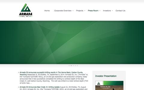 Screenshot of Press Page armadaoil.us - News Releases «  Armada Oil Inc. - captured Oct. 1, 2014