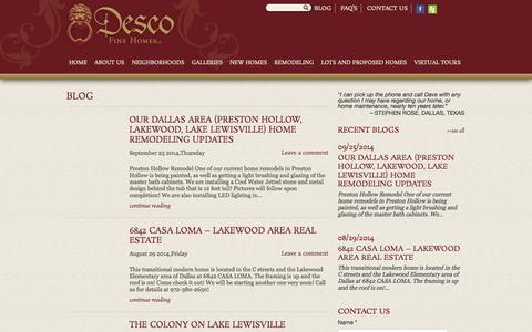 Screenshot of Blog descohomes.com - Dallas Home Builders Blog, Remodeling, Desco Fine Homes, Call 972-380-2650 - captured Sept. 30, 2014