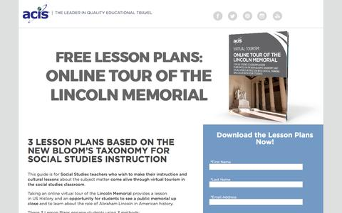 Screenshot of Landing Page acis.com - Online Tour of The Lincoln Memorial Lesson Plans - captured March 27, 2018