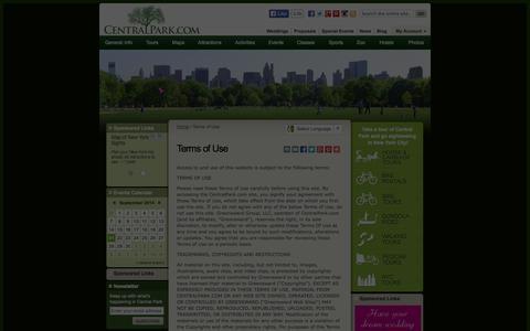 Screenshot of Terms Page centralpark.com - CentralPark.com Terms of Use - captured Sept. 23, 2014
