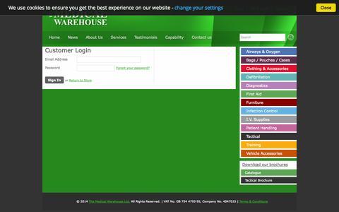 Screenshot of Login Page medicalwarehouse.co.uk - Account | The Medical Warehouse Ltd. - captured Oct. 27, 2014