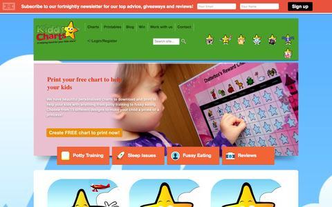 Screenshot of Home Page kiddycharts.com - Reward Charts, Behaviour Charts, Sticker Charts | Personalised | Kids - captured Sept. 19, 2014