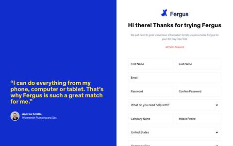 Screenshot of Signup Page Trial Page fergus.com - Fergus | Sign up for a Free 30 Day Trial - captured Nov. 2, 2018