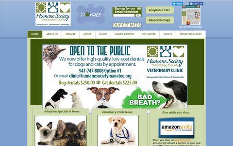 Screenshot of Home Page humanemanatee.org - Humane Society of Manatee County   Bradenton, Florida - captured Sept. 3, 2017