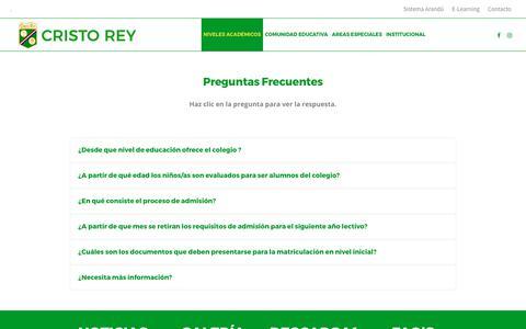 Screenshot of FAQ Page xtorey.edu.py - Preguntas Frecuentes – Colegio Cristo Rey - captured Aug. 15, 2017