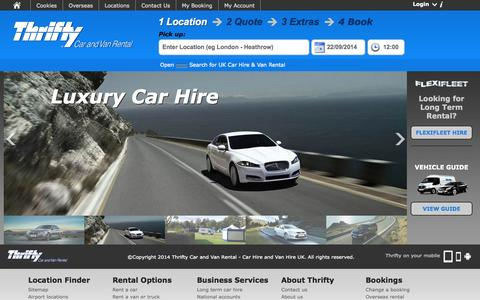 Screenshot of Home Page thrifty.co.uk - Low Cost UK Car Hire and Van Rental from Thrifty Car Rental - captured Sept. 23, 2014