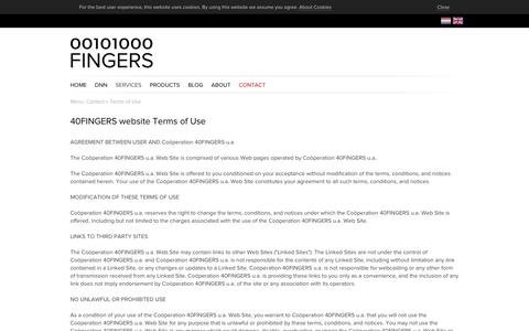 Screenshot of Terms Page 40fingers.net - 40Fingers Websolutions > Contact > Terms of Use - captured Oct. 20, 2018