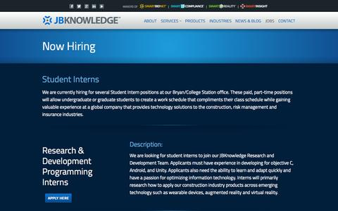 Screenshot of Jobs Page jbknowledge.com - Now Hiring - Open Job Positions at JBKnowledge JBKnowledge - captured Nov. 2, 2014