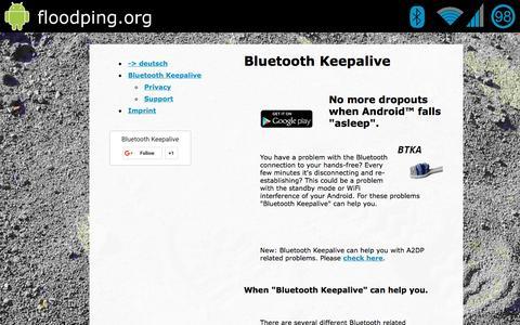 Screenshot of Home Page bluetooth-keepalive.com - Bluetooth Keepalive - captured Dec. 25, 2016