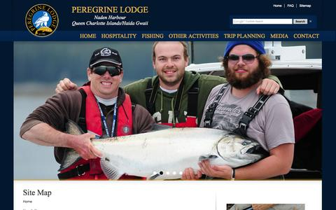 Screenshot of Site Map Page peregrinelodge.com - Haida Gwaii Guided Fishing Trips :: Peregrine Lodge - captured Sept. 29, 2014