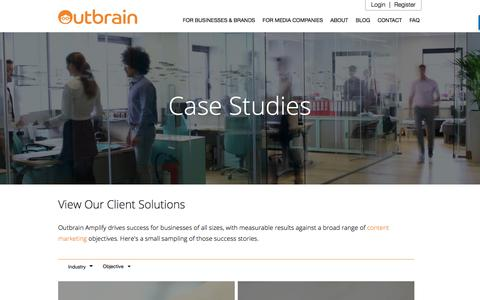 Screenshot of Case Studies Page outbrain.com - Content Amplify Success Stories | Outbrain.com - captured Nov. 24, 2017