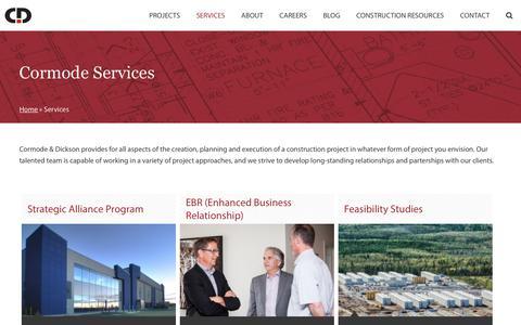 Screenshot of Services Page cormode.com - Services - Cormode - captured Sept. 29, 2018