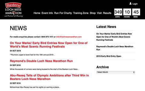 Screenshot of Press Page lochnessmarathon.com - News Archives | Loch Ness Marathon - captured Oct. 22, 2018