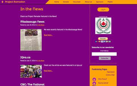 Screenshot of Press Page projectramadan.com - Project Ramadan    Building Baskets, Building Bridges - captured Sept. 30, 2014