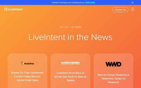 Screenshot of Press Page liveintent.com - LiveIntent   Press - captured Sept. 10, 2019