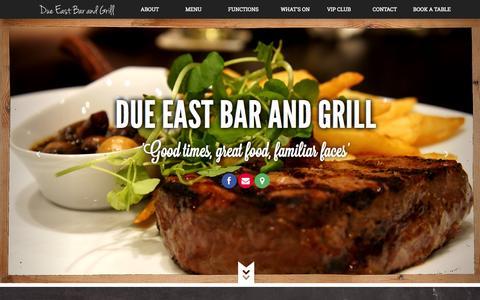 Screenshot of Home Page dueeast.com.au - Due East Bar and Grill - captured Oct. 5, 2014