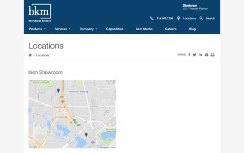 Screenshot of Locations Page bkmtexas.com - Locations Archive - bkm Total Office of Texas - captured Sept. 25, 2018