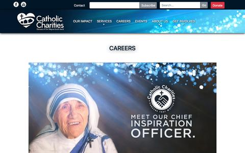 Screenshot of Jobs Page ccfwsb.org - Careers   Catholic Charities - captured Sept. 27, 2018