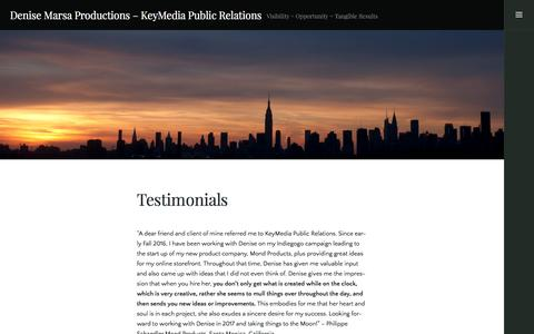 Screenshot of Testimonials Page wordpress.com - Testimonials – Denise Marsa Productions – KeyMedia Public Relations - captured March 2, 2017