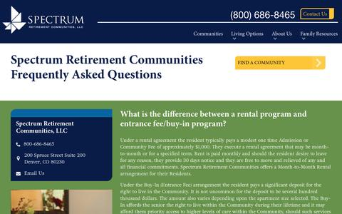 Screenshot of FAQ Page spectrumretirement.com - Spectrum Retirement Communities, LLC FAQs - captured Dec. 3, 2016
