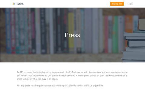Screenshot of Press Page refme.com - RefME in the press - captured Feb. 17, 2016
