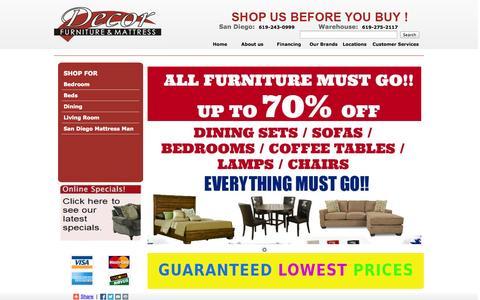 Screenshot of Home Page decorfurnituresandiego.com - Furniture Store in San Diego | Mattress Store in San Diego | Decor Furniture Miramar - captured Oct. 5, 2014