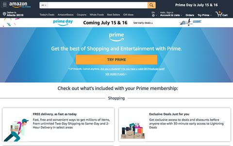 Screenshot of Signup Page amazon.com - Amazon.com: Amazon Prime - captured June 25, 2019