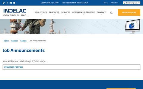 Screenshot of Jobs Page indelac.com - Job Announcements   Indelac Controls, Inc. - captured Nov. 14, 2018