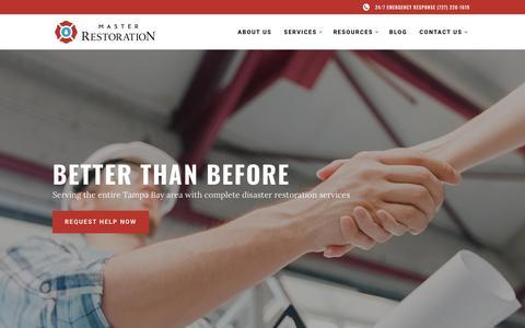 Screenshot of Home Page masterrestorationservices.com - Master Restoration - Tampa Bay Complete Disaster Restoration Services - captured Nov. 15, 2018