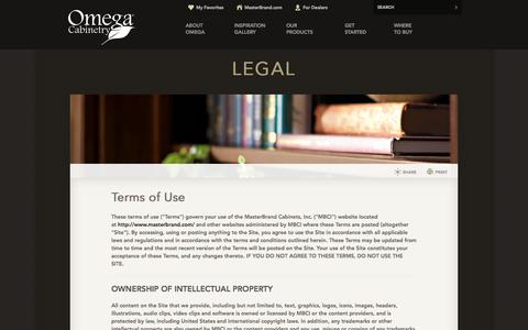 Screenshot of Terms Page omegacabinetry.com - Kitchen and Bathroom Cabinets | Omega Legal - captured Oct. 26, 2014