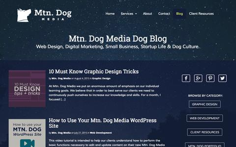 Screenshot of Blog mtndogmedia.com - Web Design, Digital Marketing, K9s & Small Business Blog - captured Aug. 12, 2015