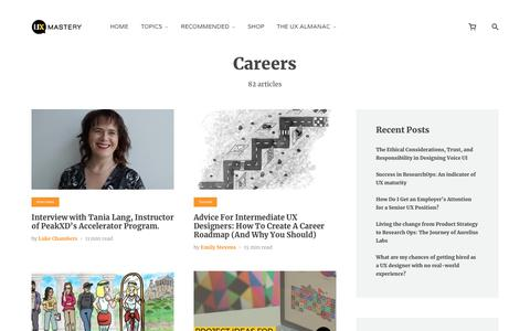 Screenshot of Jobs Page uxmastery.com - Careers Archives - - captured Jan. 19, 2020
