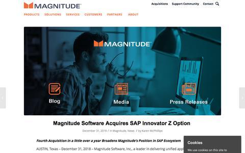 Screenshot of Press Page magnitude.com - Magnitude Software Acquires SAP Innovator Z Option - Magnitude - captured Oct. 3, 2019
