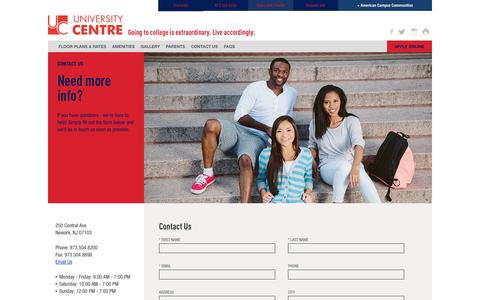 Screenshot of Contact Page americancampus.com - Contact Us - University Centre Student Apartments In Newark, NJ - captured Jan. 21, 2017