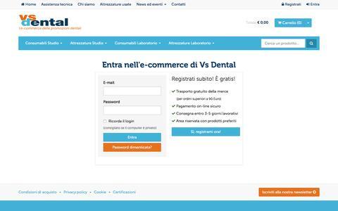 Screenshot of Login Page vsdental.it - VS Dental | l'e-commerce delle promozioni dentali - captured Feb. 13, 2016