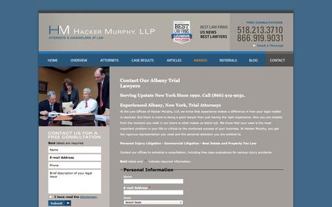 Screenshot of Contact Page hackermurphy.com - Contact | Hacker Murphy, LLP | Albany - captured Oct. 1, 2014