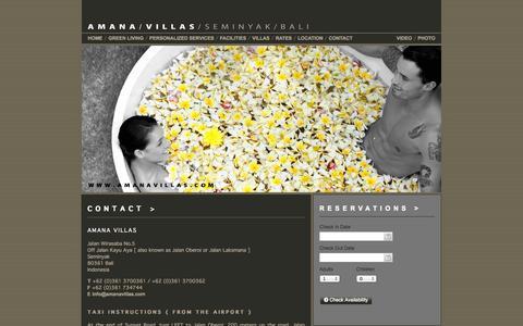 Screenshot of Contact Page amanavillas.com - AMANA VILLAS SEMINYAK BALI / Contact Us in Seminyak Bali - captured Sept. 30, 2014