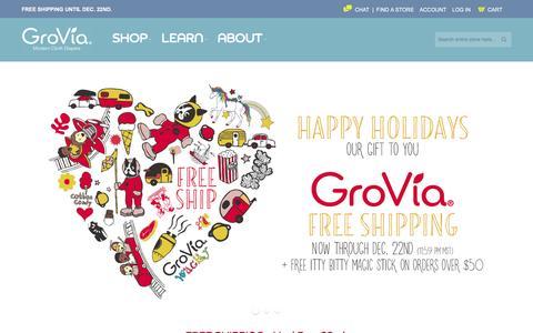 Screenshot of Home Page gro-via.com - Cloth Diapers, Wipes, & Accessories | GroVia - captured Dec. 15, 2015