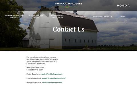 Screenshot of Contact Page fooddialogues.com - Contact - Food Dialogues - captured Sept. 29, 2017