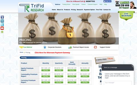 Screenshot of Pricing Page trifidresearch.com - Stock Prices | Commodity Prices | Forex Prices - captured Nov. 16, 2018