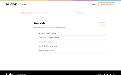 Screenshot of Support Page kudosnow.com - Rewards – Kudos Support - captured July 8, 2019