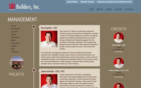 Screenshot of Team Page sbibuilders.com - Management « SBI Builders Inc. - captured Oct. 3, 2014