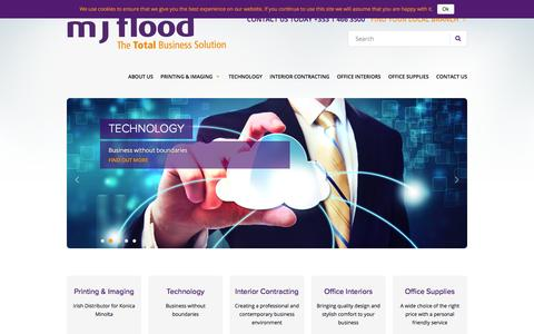 Screenshot of Home Page mjflood.ie - MJ Flood | The Total Business Solution - captured Feb. 2, 2016