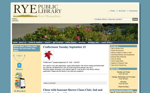 Screenshot of Services Page ryepubliclibrary.org - Services « Rye Public Library - captured Sept. 26, 2014