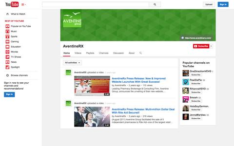 Screenshot of YouTube Page youtube.com - AventineRX  - YouTube - captured Oct. 23, 2014