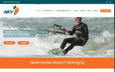 Screenshot of Home Page nederlandsekitesurfvereniging.nl - Home - Nederlandse Kitesurf Vereniging - captured Aug. 12, 2016