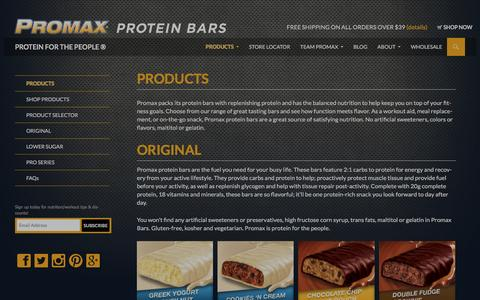Screenshot of Products Page promaxnutrition.com - Promax Nutrition Products | Promax Nutrition - captured Dec. 13, 2015